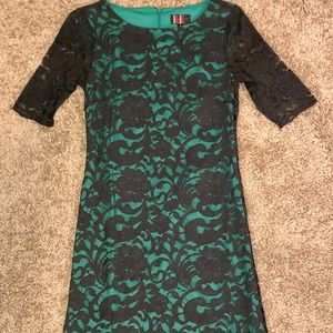 Green and Black Lace Fitted Dress